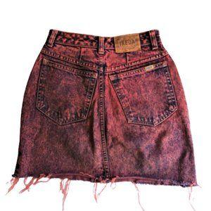 2/$40 Vintage 80s stone wash raw hem denim skirt